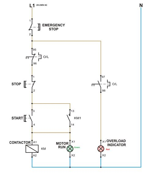 wiring diagram of dol starter wiring