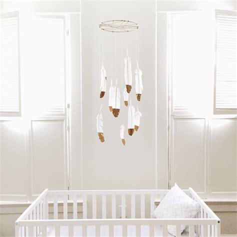 mobile nursery diy nursery decor gold dipped feather mobile