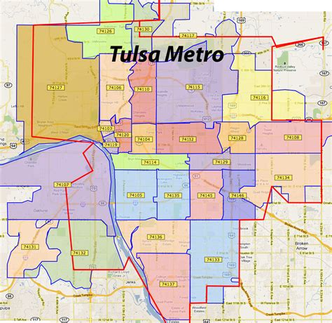 Tulsa County Search Zip Code Map Tulsa Ok Zip Code Map
