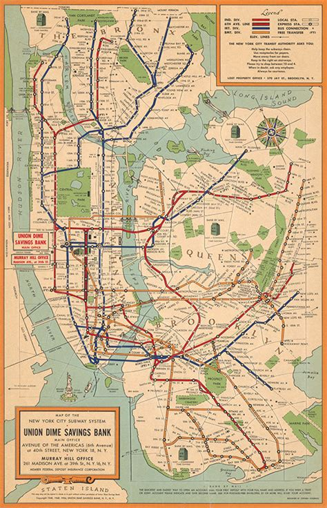 map of new york city tunnels map of new york city subway system 1954 vintage restoration