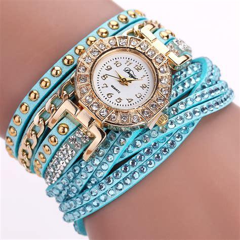 jam tangan wanita model gelang rhinestone dy001 white jakartanotebook