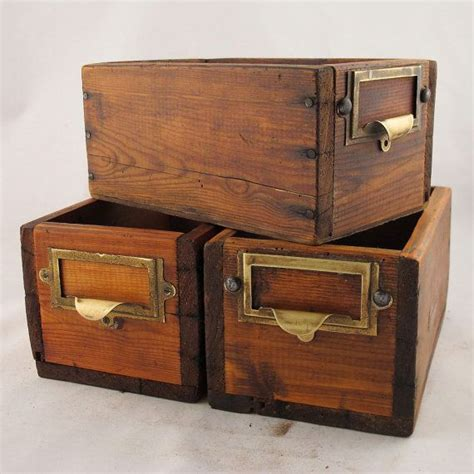 Vintage Storage Drawers by Wooden Drawers Vintage Storage Box X2 Left
