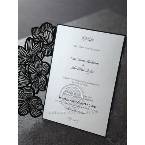 Black Elegance Wrpcc Laser Cut modern black white floral laser cut invitation gatefold