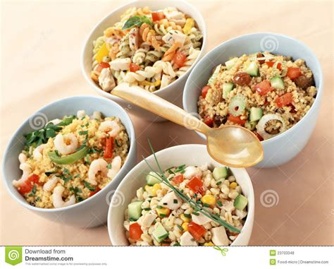 carbohydrates usage assorted salads with carbohydrates royalty free stock