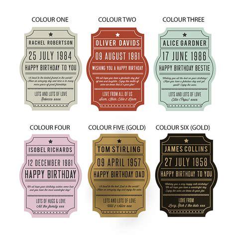 personalised birthday bottle label by oakdene designs