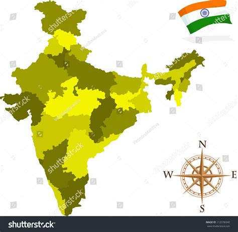 india map vector map of india states stock vector illustration 112378340