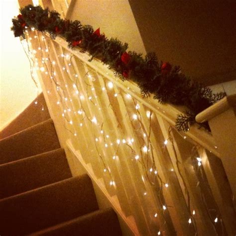 stairwell christmas garland lighting 9 best images about stairs decorations on decorating ideas