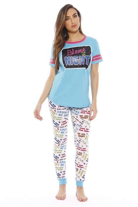 Sleep Wear 7028 just sleepwear pant sets womans pajamas pjs blame the large jet