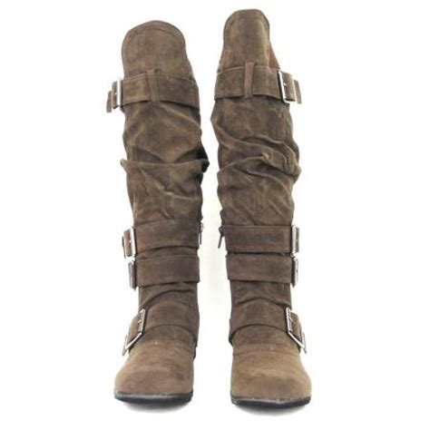womens knee high faux suede flat winter buckle boots black flat womens knee high faux suede boots brown buckles