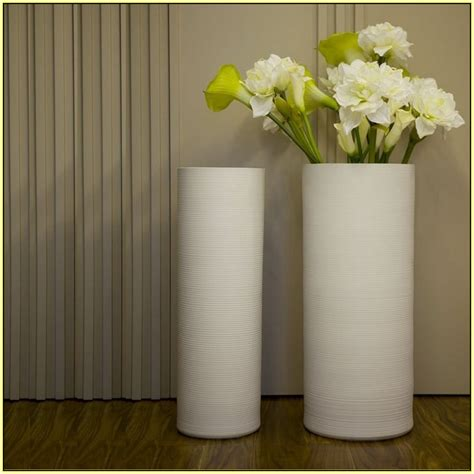 Flowers For Floor Vases by Modern Floor Vase In White With Cylinder Design Style Also Beautiful Flowers Living Room