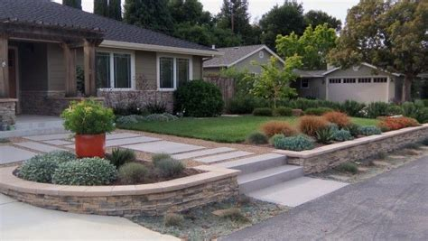 stone retaining wall front yard drought tolerant