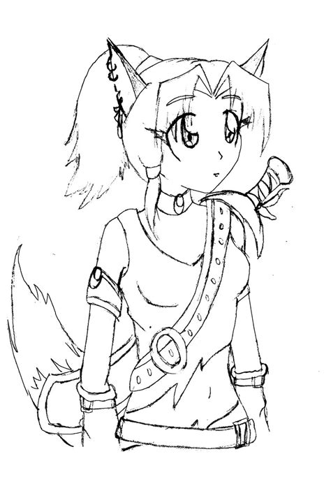 fox girl coloring pages sketch coloring page fox girl by sweetdeepblue on deviantart