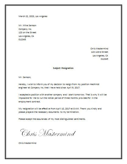 Job Resume Reason For Leaving by Resignation Letter Sample