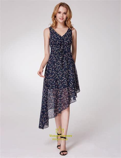 V Neck Floral Chiffon Dress a line v neck asymmetrical hem tea length floral chiffon