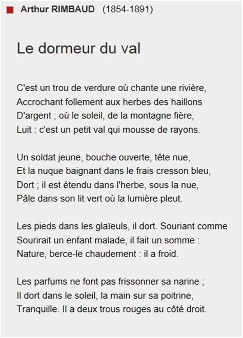 Le Dormeur Du Val Rimbaud Analyse by Bac Fran 231 Ais Arthur Rimbaud Le Dormeur Du Val Id 233 Es