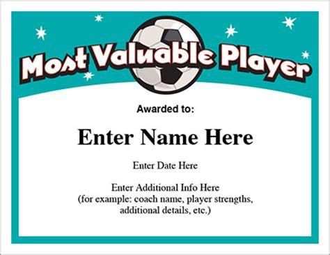 mvp certificate template mvp soccer certificate template free award certificates