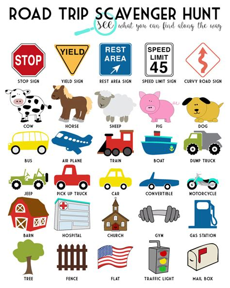 printable games for long car rides road trip scavenger hunt free printable road trips free