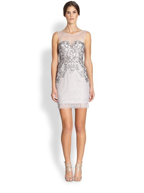 Bcbgmaxazria Abigail Sequined Cocktail Dress in Gray (GULL GREY)   Lyst