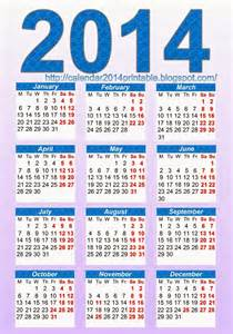 Calendar 2014 Template Printable by Calendar 2014 Template Free Printable Calendar 2014
