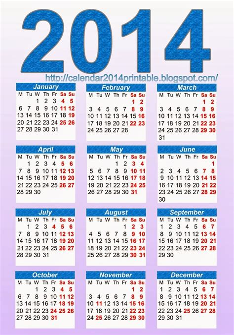 2014 calendar templates free printable yearly calendars 2014 models picture