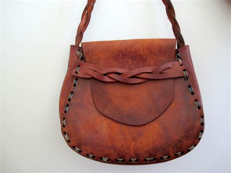 vintage brown leather mexican tooled purse bag on luulla
