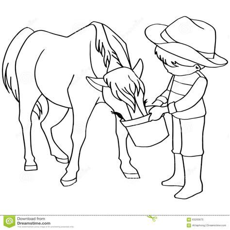 alimentazione per cavalli vettore dei cavalli di alimentazione dei bambini libro