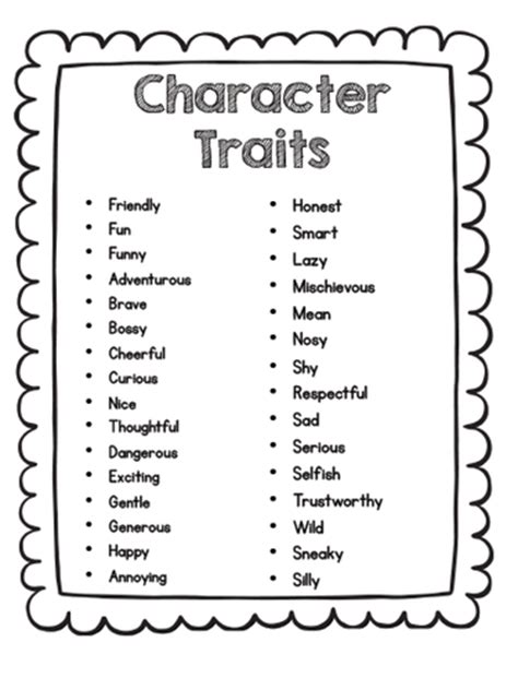 Character Traits Letter N Characters Traits And Point Of View Ms S 2nd