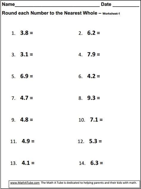 Rounding Decimals To The Nearest Whole Number Worksheet by Rounding Decimals To The Nearest Whole Number Worksheet