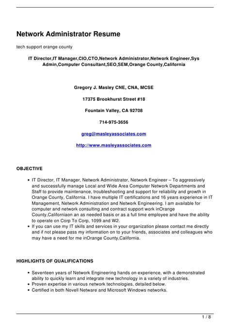 Network Administrator Hardware Resume by Network Administrator Resume