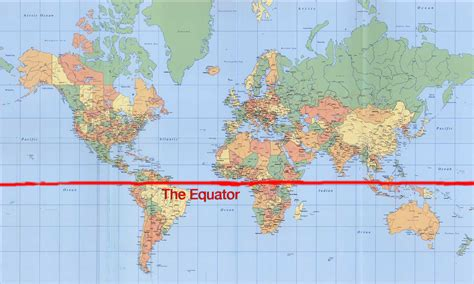 world map with equator equator line map