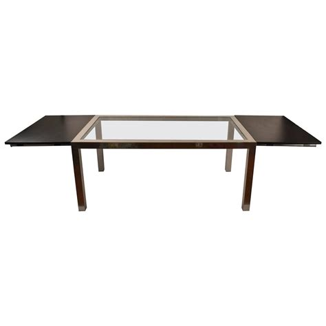 aluminum base parsons dining table with black formica