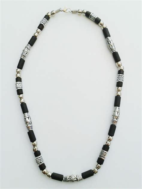 hawaii two tone chrome black surfer beaded choker necklace
