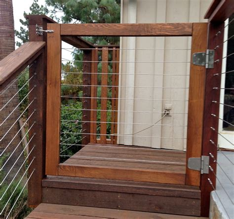 wood framed cable gate modern entry san diego