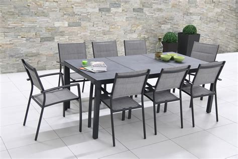 table jardin en table de jardin aroma 2m en aluminium et verre tremp 233 imitation oogarden