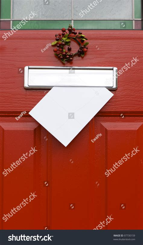 Letter Boxes For Front Doors Front Door With Mail Post Box And A White Letter Envelope Mail Concept Space