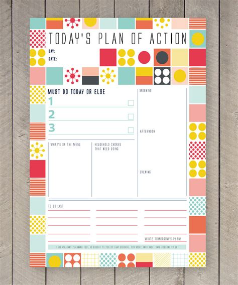 printable organizer printable day planner family organiser mid century colourful