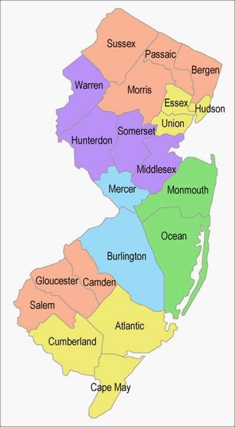 nj counties map february 2009 free printable maps
