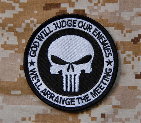 Rubber Patch God Will Judge Our Enemies Emblem Velcro Punisher punisher god will judge our enemies navy seal no easy day zero thirty moh ebay