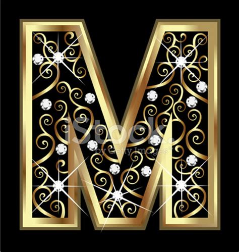 Home Decoration Designs by Gold Letter M With Swirly Ornaments Stock Photos