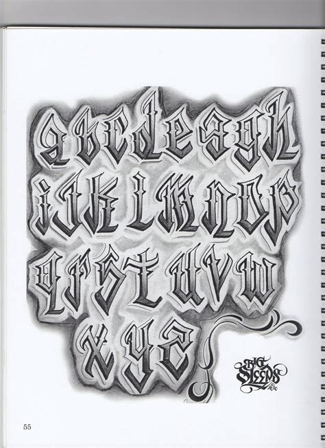 tattoo fonts chicano big sleep lettering pinte