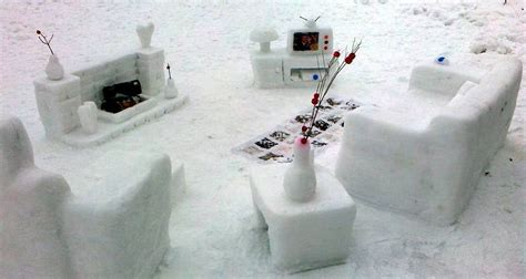 Snow Furniture how to take advantage of the arctic blast the shelving