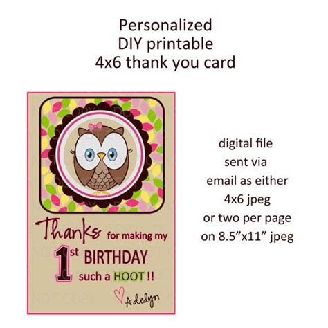 owl thank you card template printable diy owl birthday theme thank you card
