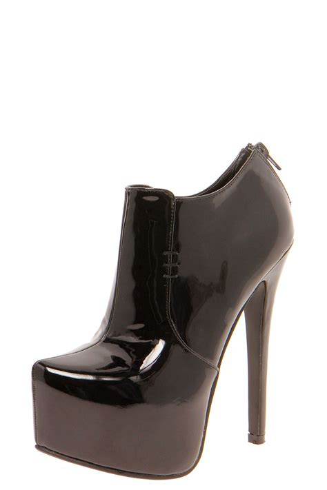 shoe boots boohoo patent platform ankle shoe boots in black ebay