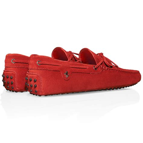 Tods Ferrari by Tod S For Ferrari Gommino Driving Shoes In Suede In Red