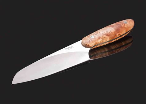 evolution of knives evolution chef knife 142 mm blade with blond maple burl