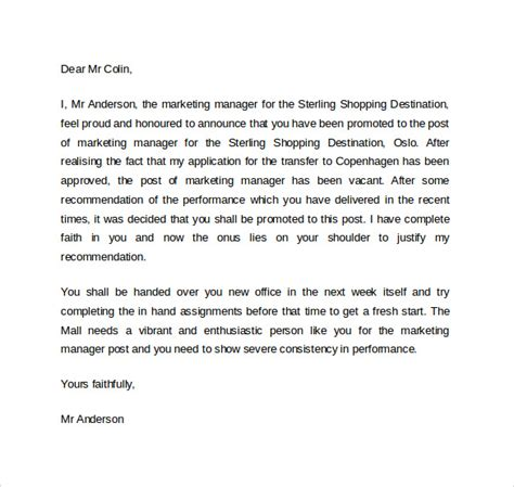 Promotion Letter For New Business Promotion Letter 14 Free Sles Exles Formats