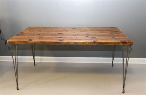 reclaimed wood desk with hairpin legs by dendroco on etsy