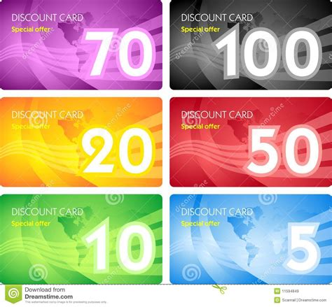 discount card template set of discount card templates royalty free stock images