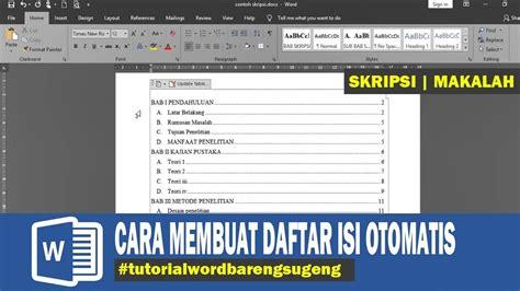 membuat daftar isi otomatis word  skripsi makalah