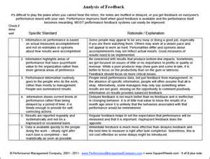 Page one of a feedback analysis worksheet for performance improvement